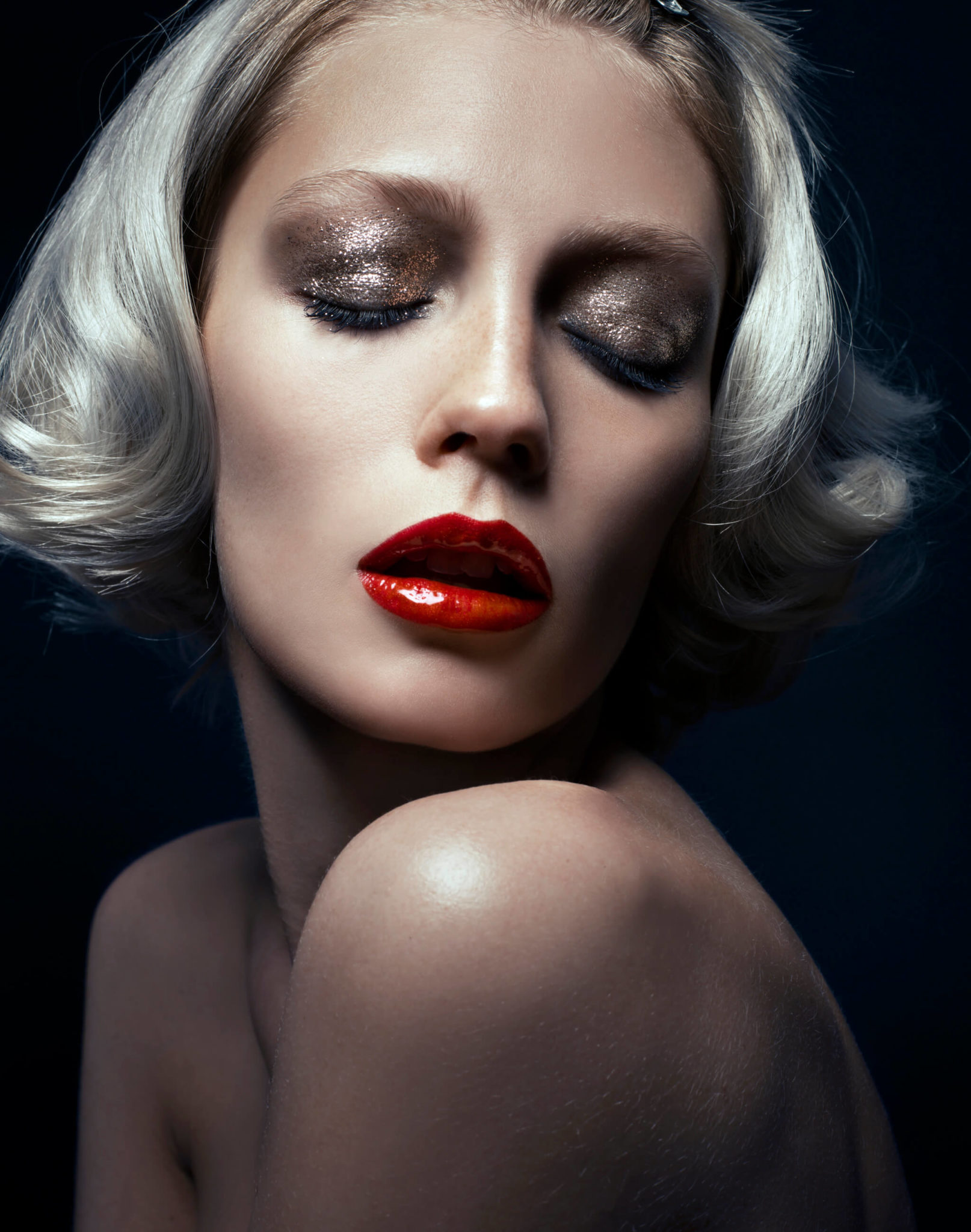 Beauty makeup shot with red lips glitter glamour by chris-singer-chrissinger