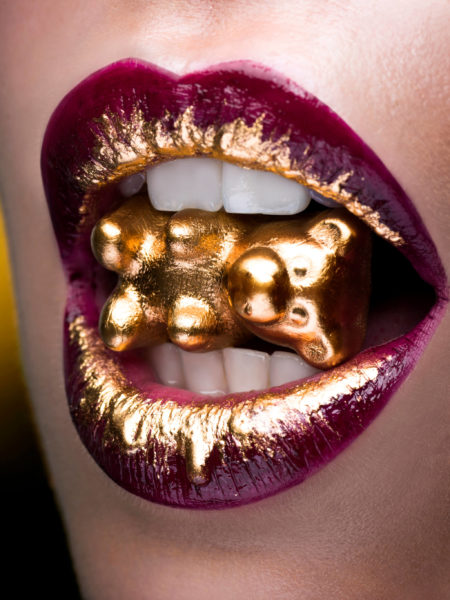photographed Beauty-makeup -shot red lips gummi bear French style by chris singer chrissinger