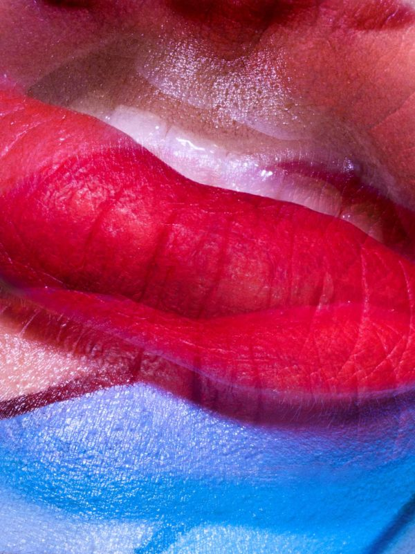 Picasso red and blue lip photographed by Chris-singer-photography
